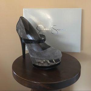 🆕 J SIMPSON CHEETAH Nubuck Suede & Leather Heel